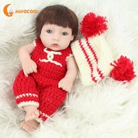 28cm Silicone Realistic Silicone Reborn Toys Children Girls Baby Toy Dolls with Knitting Clothes Kids Birthday Gift