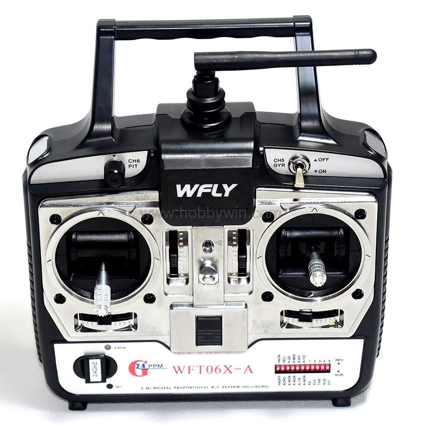 WFLY 2.4G Radio System WFT06X-A 2.4GHz 6-Ch Left Throttle for RC Model Airplane Glider Helicopter Racing Boat Buggy Car Truck