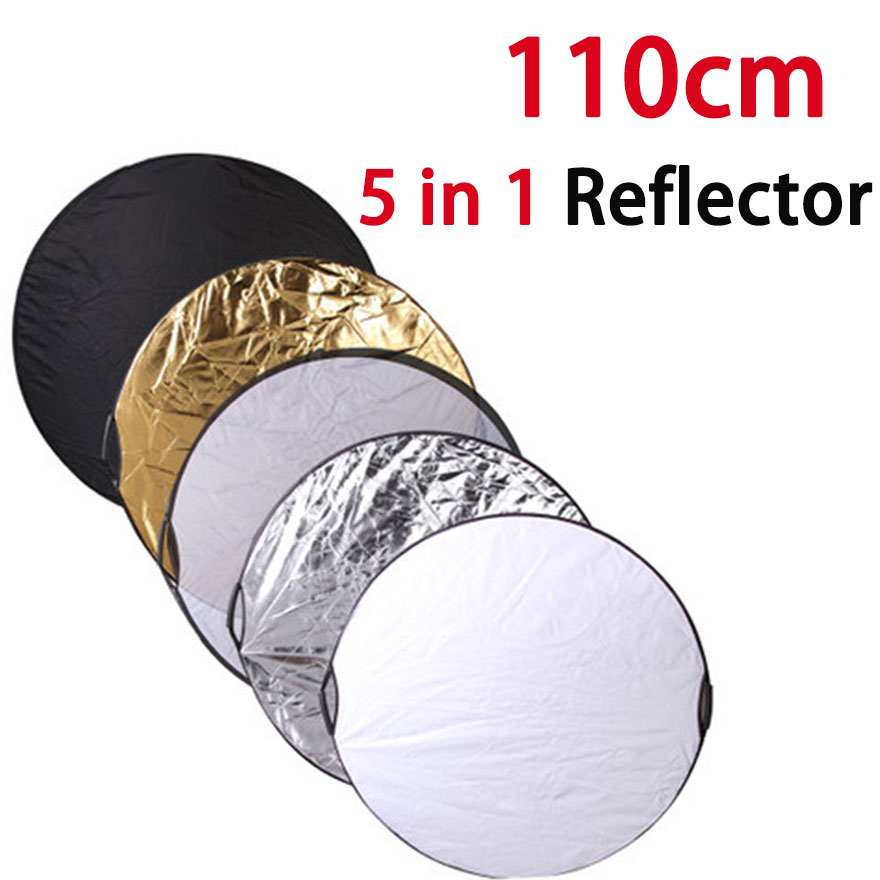 5 in 1 Portable Collapsible Light Round Photography Reflector 110cm Multi Handheld Photograph Studio Light Reflector Diffuser