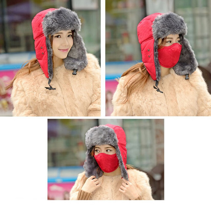 2015 New Men Women Winter Warm Bomber Hats Caps Russian Trapper Aviator Trooper Earflap Outdoor Sport Snow Ski Hat Cap (12)