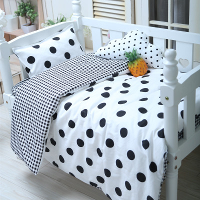 With Filling High Quality Materials Steady Good Quality Baby Bedding Set Pure Cotton Cartoon Pattern Crib Bed Sheet Kit Lovely Black Dots duvet/sheet/pillow
