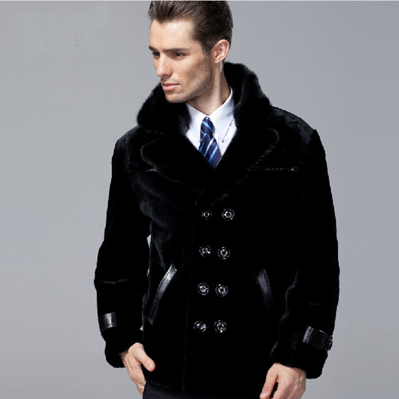 Free shipping Men's winter fashion mink collar genuine leather sheepskin and sheep fur coat male warm jacket