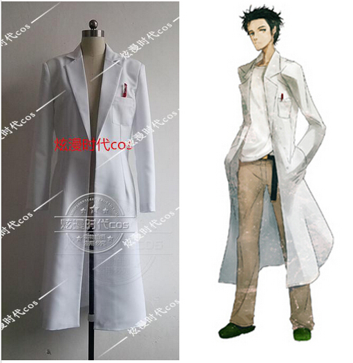 HOT Anime!!!Steins Gate Okabe Rintarou Cosplay Costume Coat Long Jacket White Jacket costume NEW free shipping