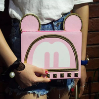 Hot Sale 3D Cartoon Cute Ear Bow Mickey Minnie Flip Stand Leather Card Holder Smart Case
