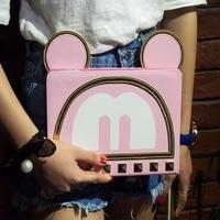 Hot Sale 3D Cartoon Cute Ear Bow Mickey Minnie Flip Stand Leather Card Holder Smart Case