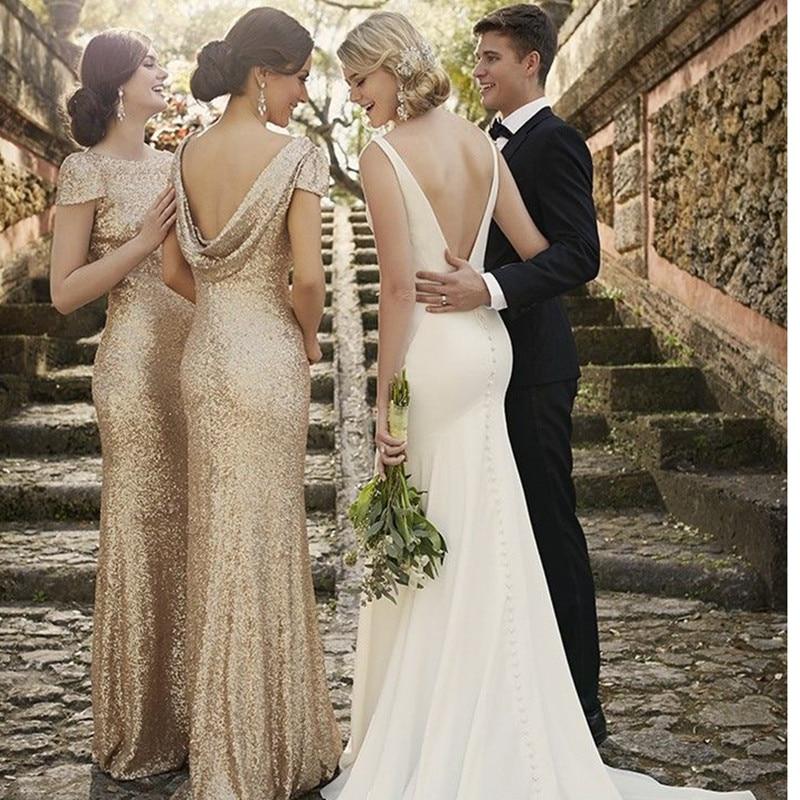 Gold Sequin Bridesmaid Dress Cap Sleeves Scoop Neck