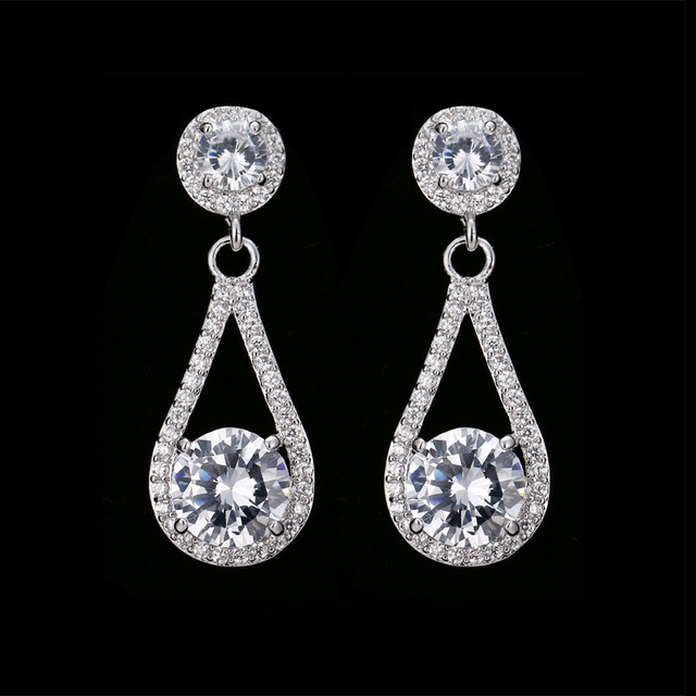 SLBRIDAL Rose Gold Pave Setting AAA Grade Cubic Zirconia Earring Dangle  Bridal Wedding CZ Earrings Girls 217fd8ae7591