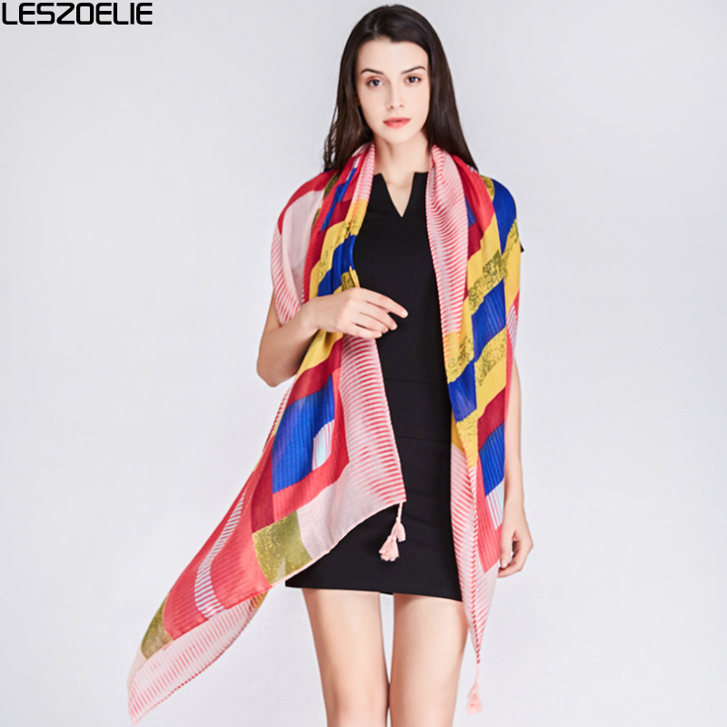 Summer Multicolour Plaid   Scarf   For 2019 Fashion Women   Scarves   Birthday Gift Ladies Long Soft   Scarf     Wrap   Stripes Printed Shawl