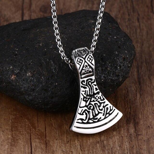 mens necklaces axe head norse viking scandinavian pendant