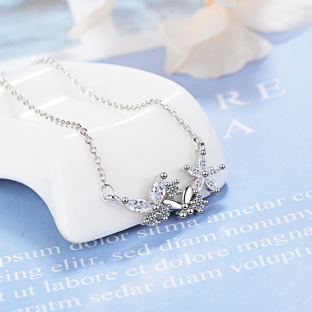 Everoyal New Arrival Female 925 Silver Necklace For Women Jewelry Fashion Crystal Butterfly Girl Choker Necklace Female Bijou in Pendant Necklaces from Jewelry Accessories