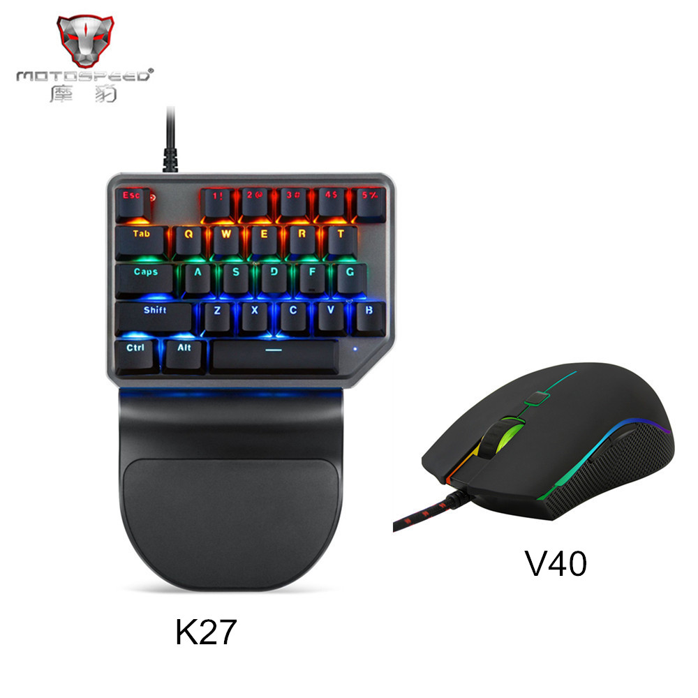 Motospeed V40 USB Wired Gaming Mouse 6 Button Optical RGB LED Lights Computer Mice with K27 Single Hand Mechanical Keybaord цена и фото