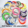 260 Metros 26 Colores 1.75mm 3D Pluma Pluma Impresora ABS Filamento Impresora 3D Material de Hilos
