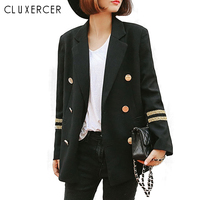 Blazer Feminino 2018 Long Women Blazers And Jackets military style Double Breasted Long Sleeves Lady Suit