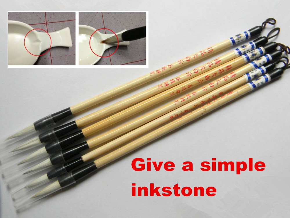 6Pcs Woolen & Rabbit Calligraphy Hair Chinese Brush Pen+ 1 Simple Inkstone