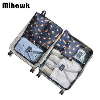 94b3bf5cbb041 Mihawk 7 adet/takım Taşınabilir Seyahat Çantaları Dayanıklı Oxford Ambalaj  Elbise Ayakkabı Sıralama Bagaj Fermuar Tote Küp Organizatör Aksesuarları