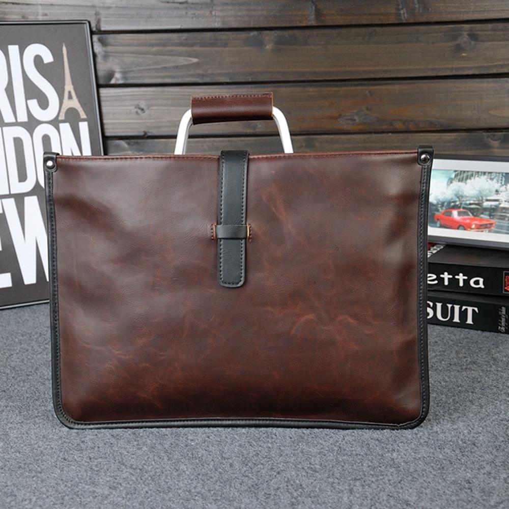 2018 New fashion men women briefcase vintage PU leather handbag messenger bag for macbook air 13.3 inch notebook bag-brown все цены