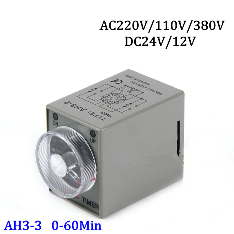 AH3-3 0-60M Power On 8-pins Time Delay Timer Relay AC220V/110V DC24V/12V black dc 24v power on delay timer time relay 0 1 9 9 second 8 pins asy 2d