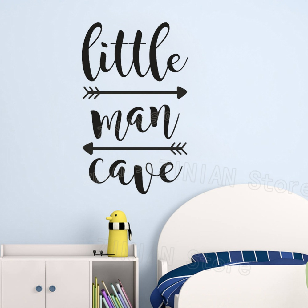 Little Man Cave Wall Decals Kids Wall Quote Words Baby Boy Room Decor Wall Sticker adesivo de parede Arrows Wall-papers Z439