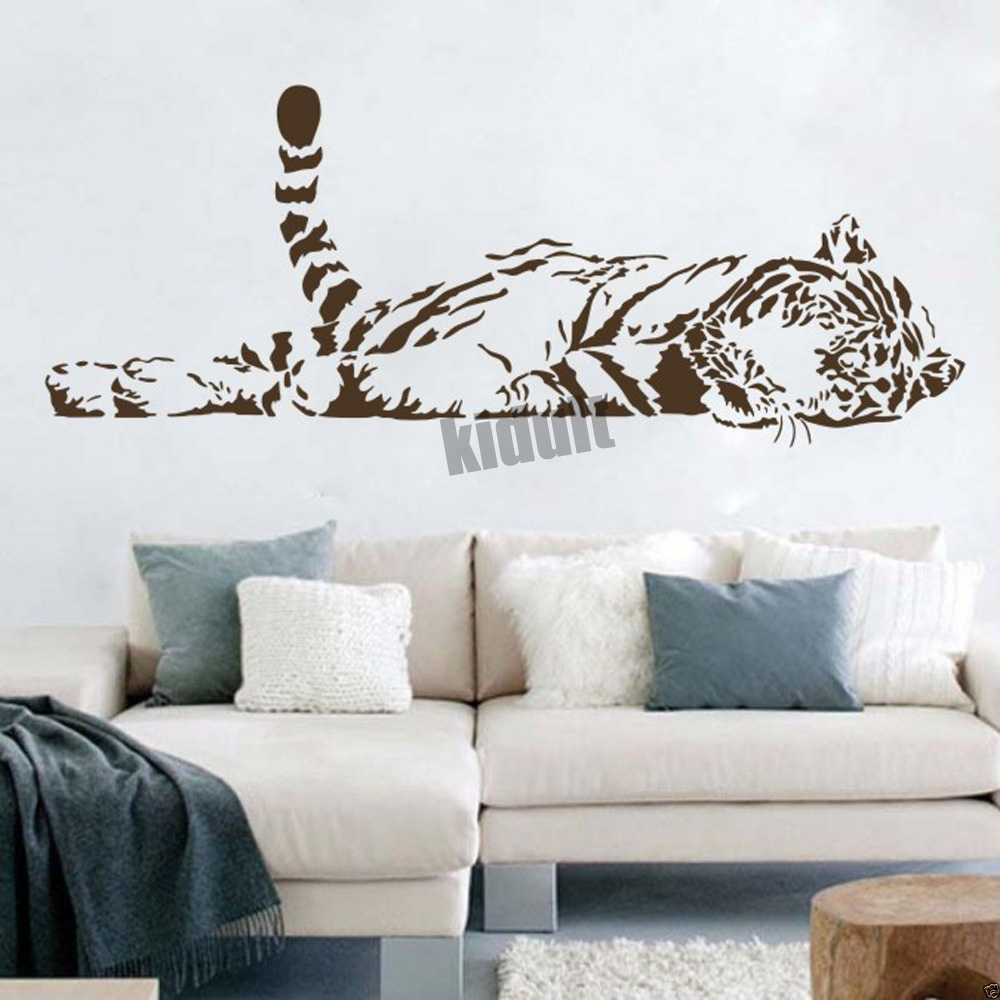 Continental home life animal tiger sticker home decor for Black and white wall mural wallpaper