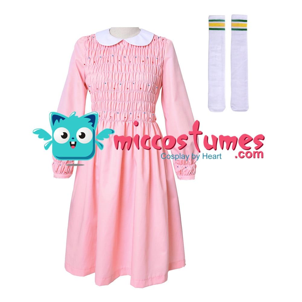 Stranger Things Eleven Dress Women Girl Pink Long Sleeve Dress Costume