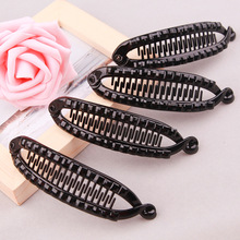 SHCXGQN 11cm Hair Claw Clips Fish Shape Banana Barrettes Black Hairpins Accessories For Women Clamp Jewelry YR-S012