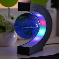 C Shape LED World Map Light Decor Magnetic Levitation Floating Globe World Map For Desk Decoration