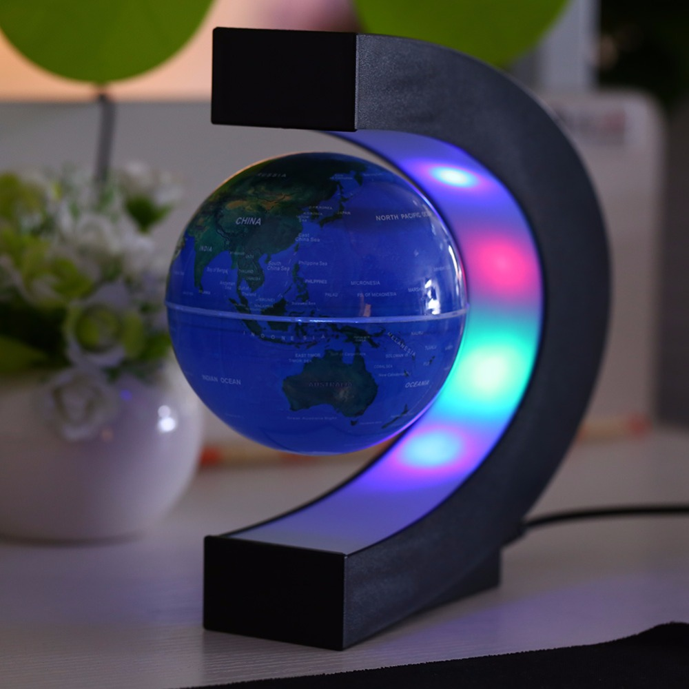 C Shape LED World Map Light Decor Magnetic Levitation Floating Globe World Map for Desk Decoration Novel Birthday Home Night