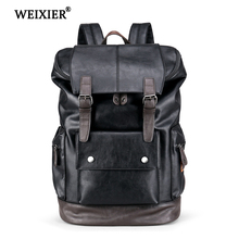 WEIXIER Men Backpack Waterproof Fashion PU Leather Casual Travel School Bags leather Book 2019 New Preppy Style
