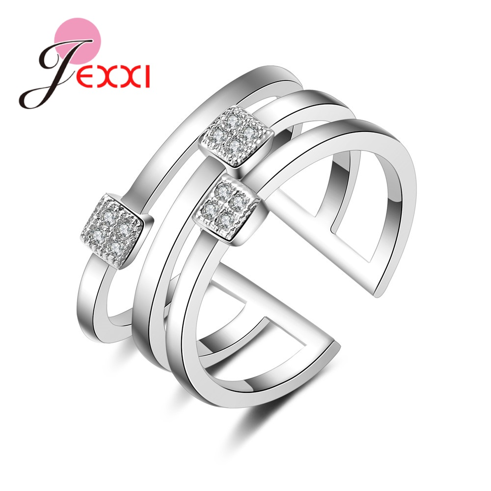 Explosion Models 925 Sterling Silver Wedding  Christmas Gifts 3 Rows Of Open Ring  Pliers Square Crystal Zircon Jewelry