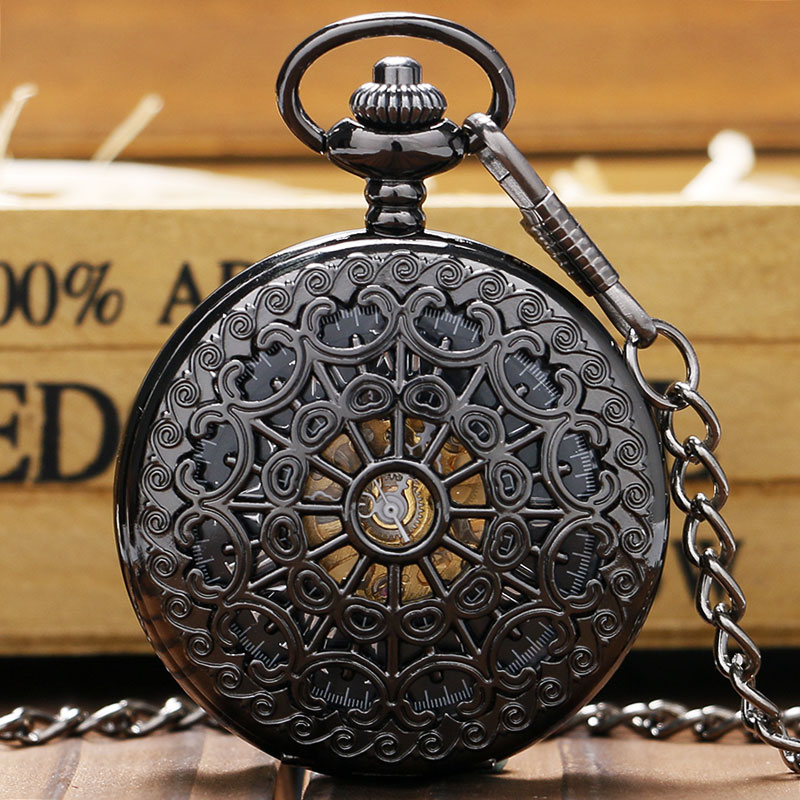 Stylish Hollow Steel Black Mechanical Pocket Watches Men Women Luxury Hand Winding Watch Pendant Clock With FOB Chain Gift Bag