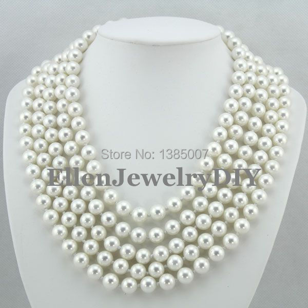 Latest Fashion 10mm 5 Rows Shell Pearl Jewelry Necklace Natural Seashell Pearl Necklace W7158 classical malachite green round shell simulated pearl abacus crystal 7 rows necklace earrings women ceremony jewelry set b1303