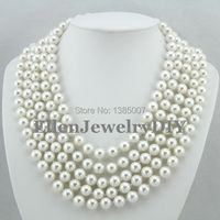 Latest Fashion 10mm 5 Rows Shell Pearl Jewelry Necklace Natural Seashell Pearl Necklace W7158