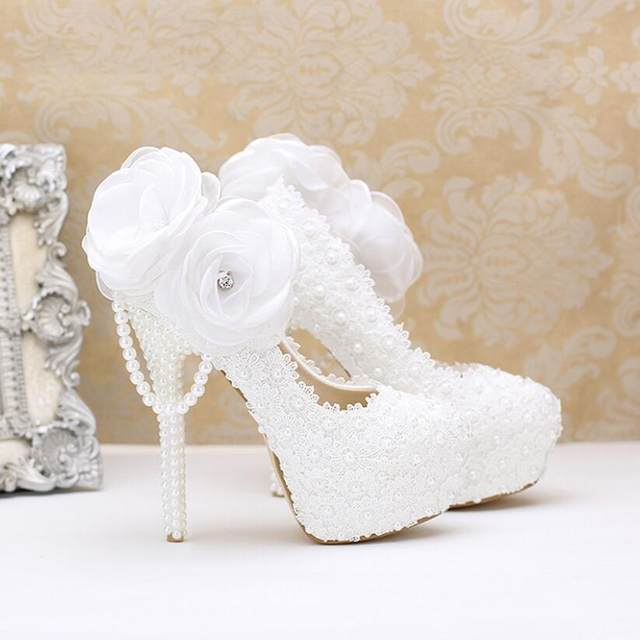 Koovan Wedding Shoes 2017 Fashion White Pearl Lace Flowers High Heel Women Shoes  Bridal Shoes Women Wedding Shoes Women Pumps