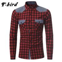T Bird 2017 Shirt Men Brand Casual Plaid Long Sleeves Slim Fit Mens Shirt Camisa Masculina