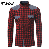 T Bird 2017 Shirt Men Brand Casual Plaid Long Sleeves Slim Fit Mens Shirt Camisa Masculina
