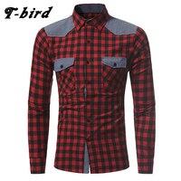 T bird 2017 Shirt Men Brand Casual Plaid Long Sleeves Slim Fit Mens Shirt Camisa Masculina Male Dress Shirt Two Pocket Shirt 3XL