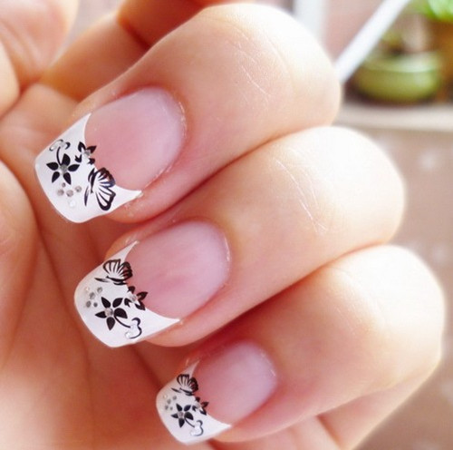 Cute White Tip Nails: Aliexpress.com : Buy Nail Art 3D Stickers Decal French