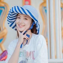 56-58cm Beach Sun Cap Summer Lady Wide Brim Fisherman Hat Women Casual Sunscreen Foldable Double-sided Striped Bucket Plus