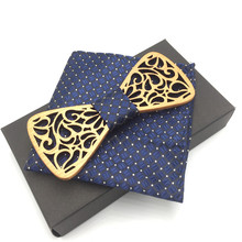 Wood Bow Tie with pocket squares Wooden Ties Mens Novelty Handmade Solid Bowtie For Men Wedding Party Accessories Neckwear