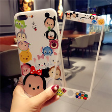 For iPhone 7 7Plus Minnie Case + Tempered Glass Screen film , Cartoon Mickey TPU Cover for Apple iPhone 6 6S 6SPlus 8 8plus case