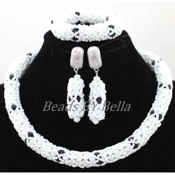 Lovely Handmade Lace Jewlery White Crystal African Beaded Jewelry Sets Nigerian Party Beads Necklace Set Free Shipping ABK916
