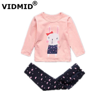 VIDMID baby girls pajamas clothing sets kids t-shirts + pants baby girls underwear sets for girls sleepwear suit set  4049 02