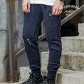 Мода связывание ног отверстие повседневные брюки молния брюки мужчины хип-хоп разорвал штаны jogger брюки для мужчин спортивной одежды