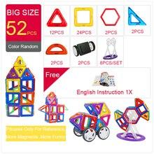 52 шт. большой размер магнитные строительные блоки треугольные квадратные кирпичные дизайнерские светящиеся кирпичи магнитные игрушки бесплатные наклейки подарок