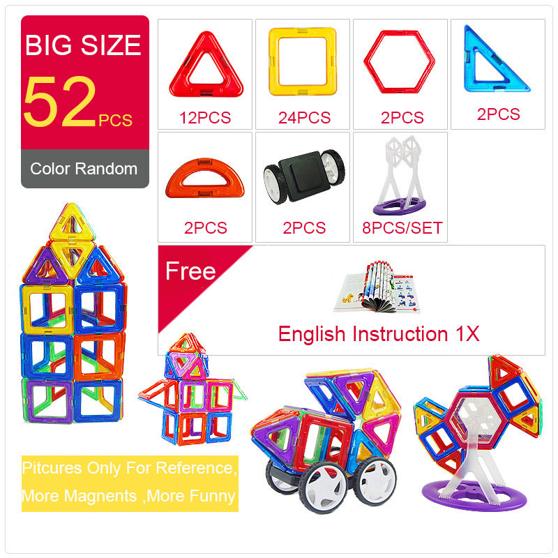 цена на 52pcs Big Size Magnetic Building Blocks Triangle Square Brick designer Enlighten Bricks Magnetic Toys Free Stickers Gift