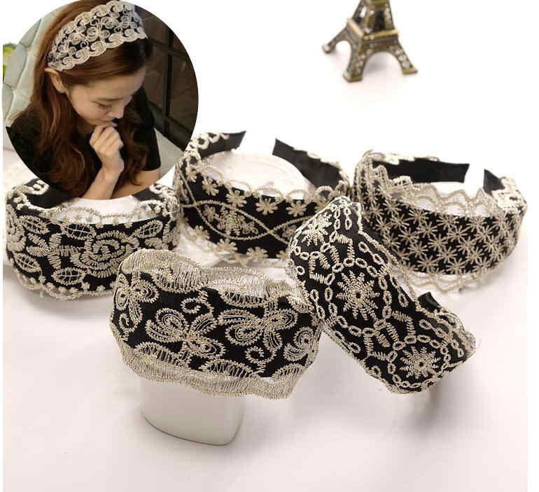 New Women Wide Hair Bands Girl Wide Headband Sexy Lace Hollow Elastic Hair Band Boutique Hair Hoops For Jewelry Tiara Headwear
