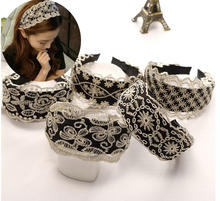 New Women Wide Hair Bands Girl Headband Sexy Lace Hollow Elastic Band Boutique Hoops For Jewelry Tiara Headwear