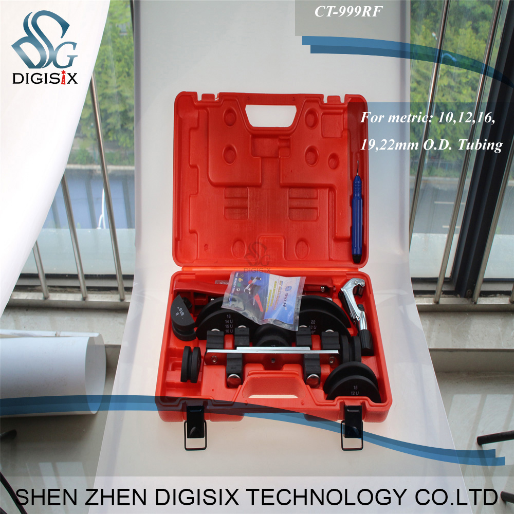 Free shipping 90 Degree Multi Tube Bending Tool Kit CT-999 brass pipe bender refrigeration repair tools with cutter