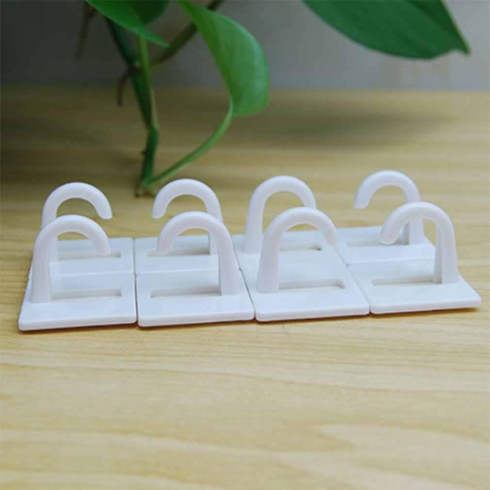 8 قطعة/المجموعة الأبيض الذاتي لاصق البلاستيك مربع هوك صغيرة جدار جبل شماعات حامل هوك للمنزل المطبخ الحمام انخفاض الشحن