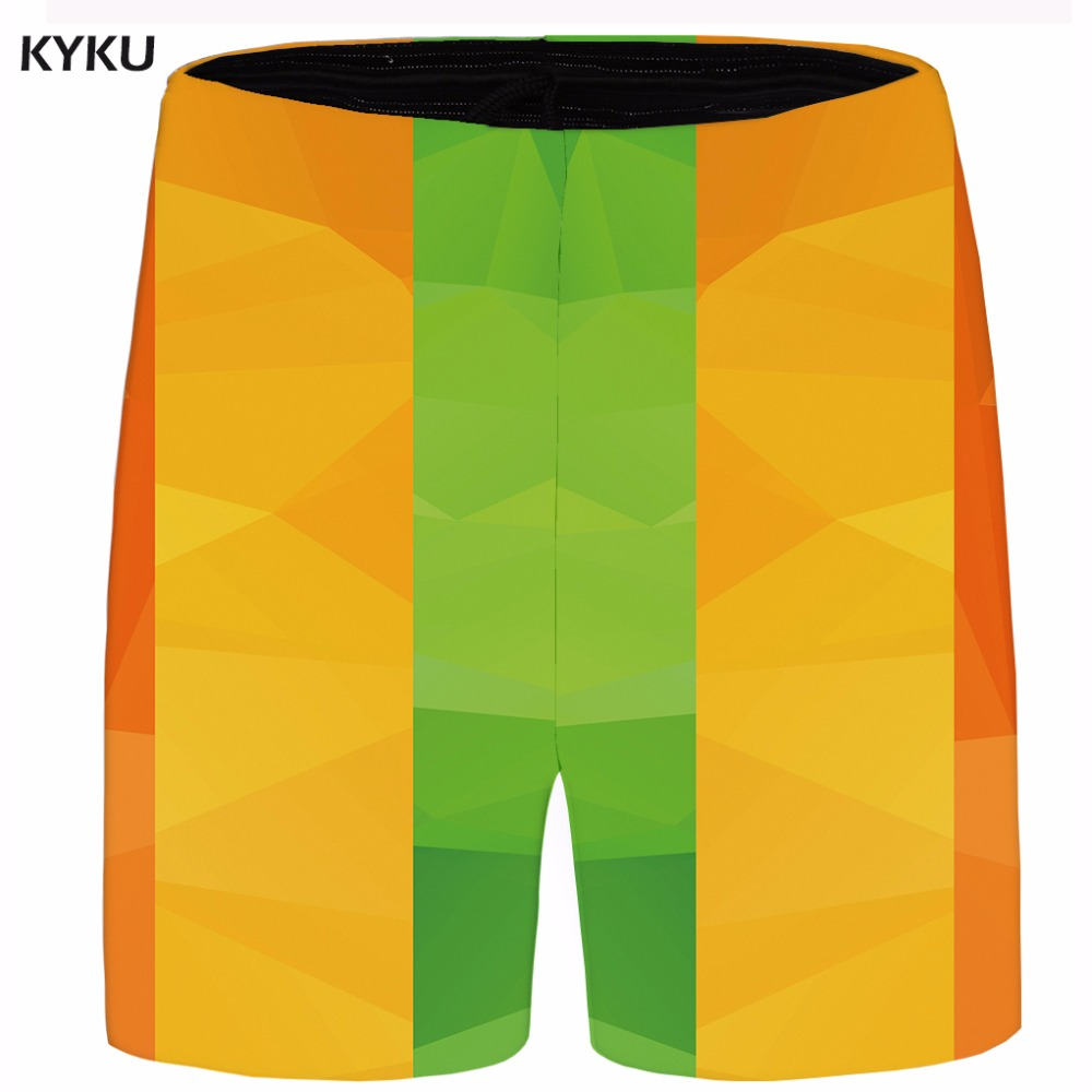 KYKU Brand Lattice Men Yellow Beach Shorts Plus Size Gothic Cargo Casual Shorts 3d Printed Mens Short 2018 Summer High Quality